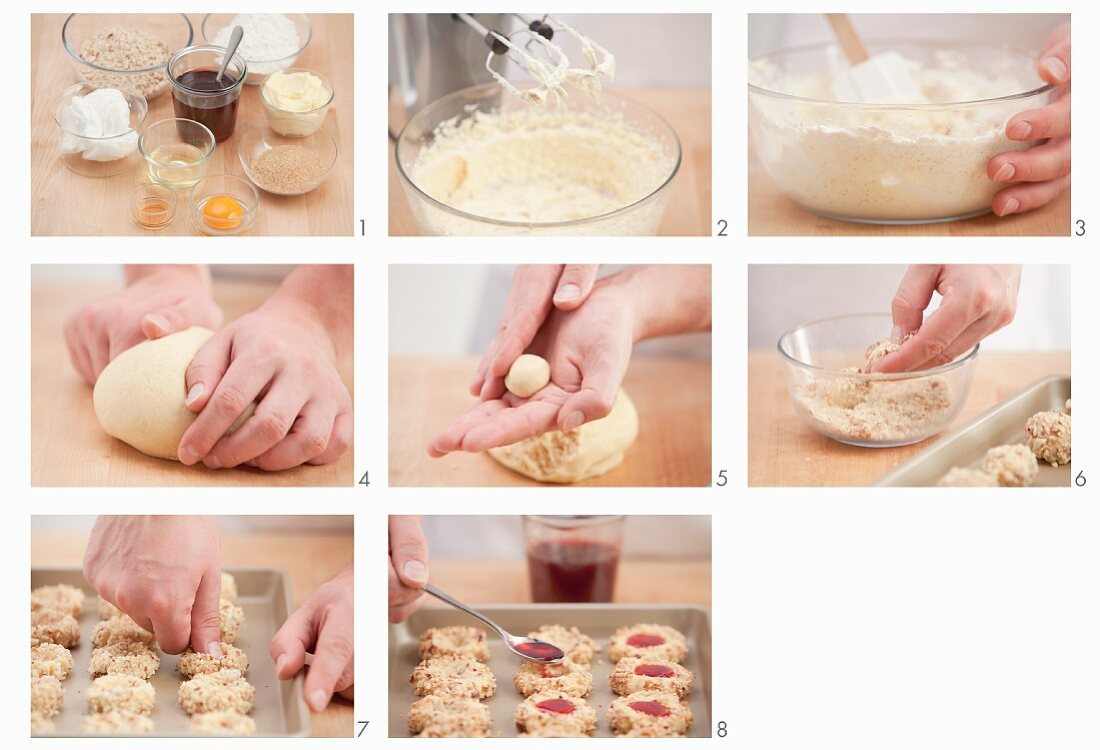 Thumbprint cookies (nut dough biscuits with jam) being made