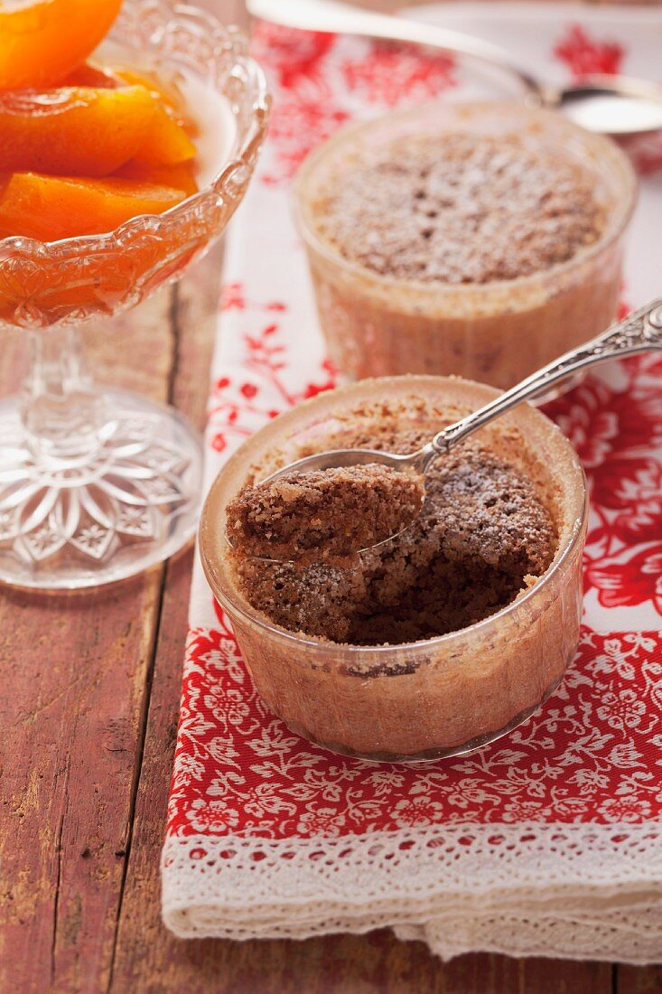 Sweet black bread bake with apricot compote