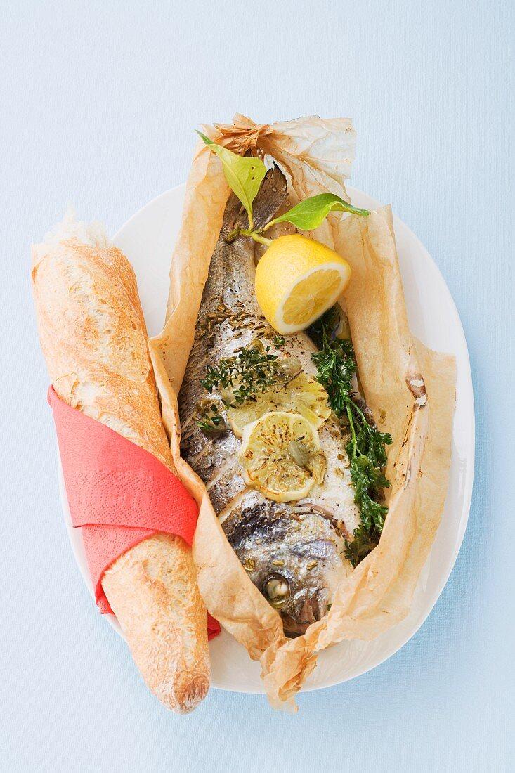 Pesce al cartoccio (fish baked in parchment paper, Italy)