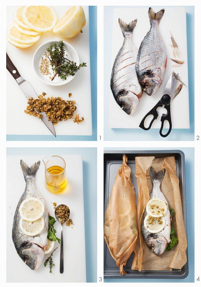 Fish al cartoccio being prepared