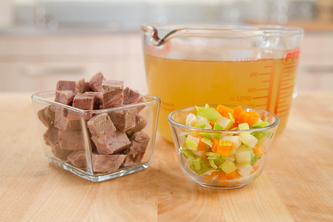 Cooked beef, beef stock and mirepoix