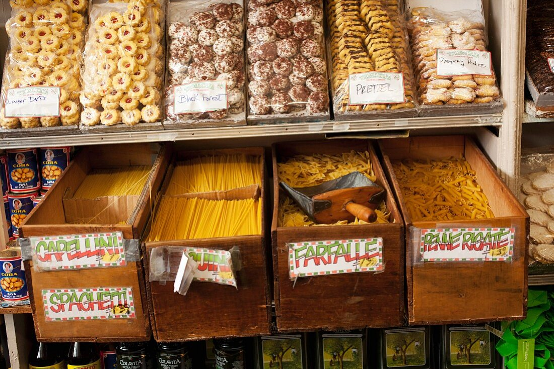 Italian Market in Baltimore; Pasta and Baked Goods
