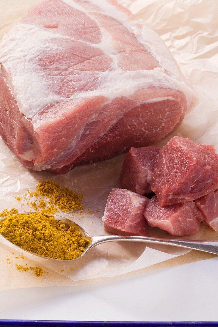 Pork shoulder and curry power