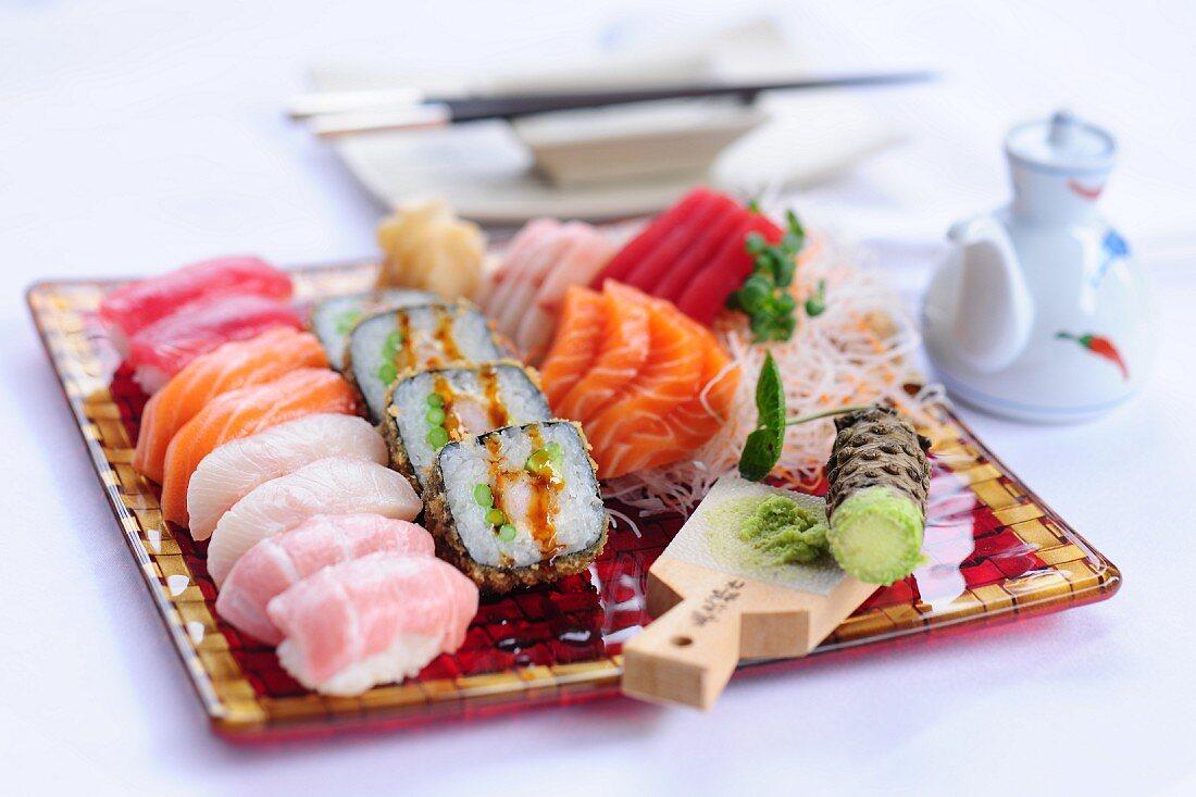 Sushi platter with sashimi