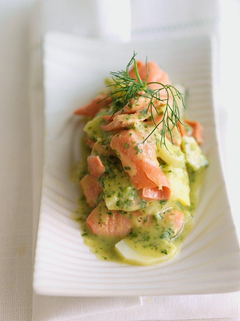 Warm Salmon and Potato Salad with Herb Sauce