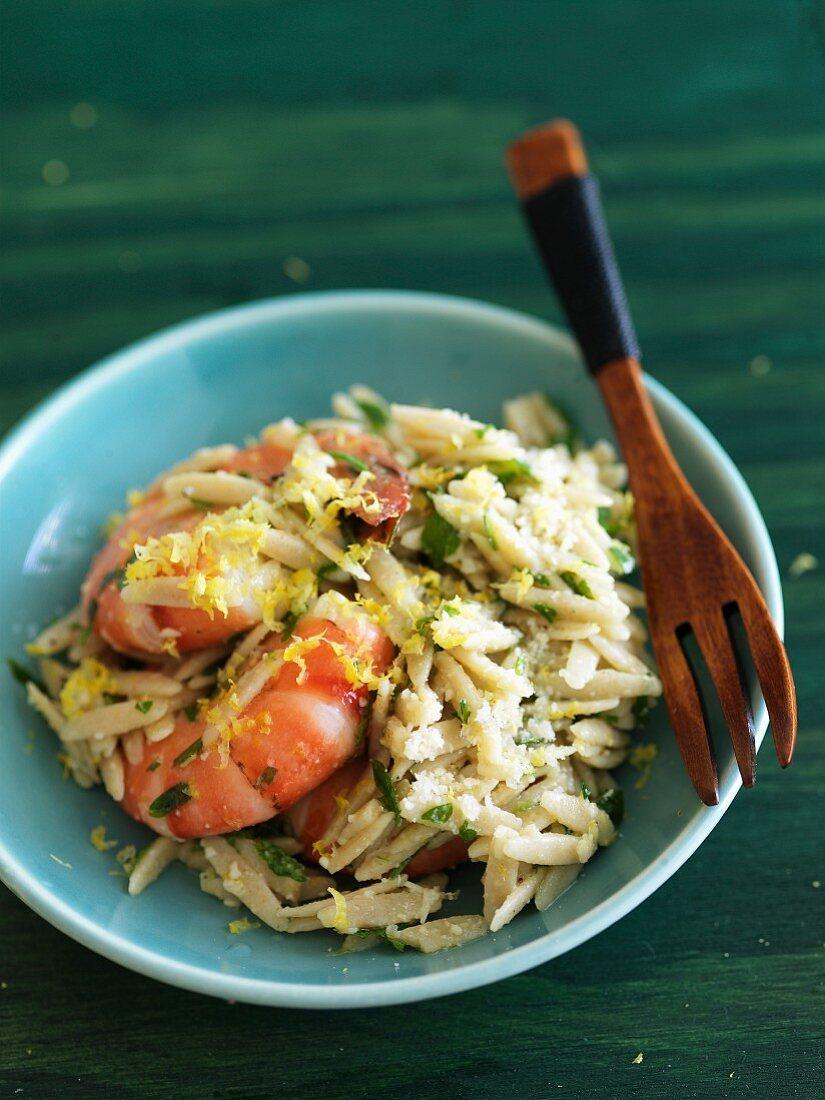 Lemon Parmesan Orzo with Shrimp in a Bowl