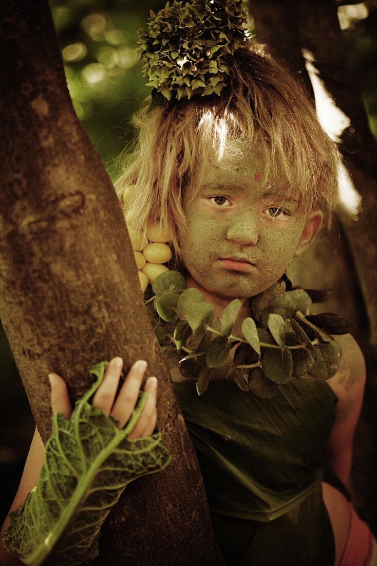 Wood Nymph Girl in Forest with Cabbage Leaves and Eucalyptus