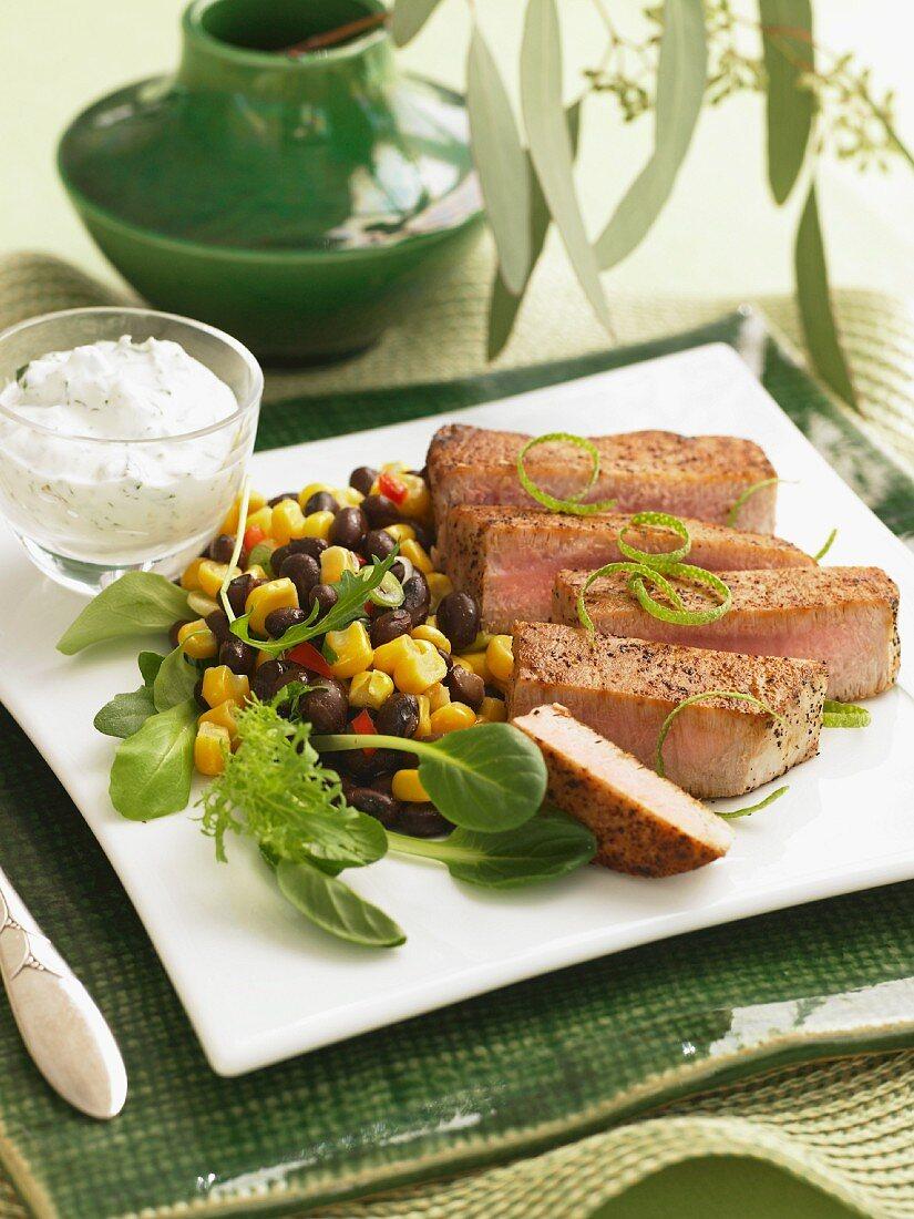Sliced Pork with Black Bean and Corn Salad