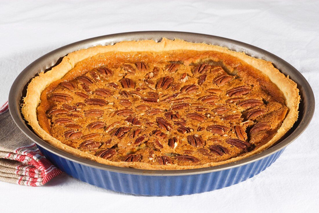 Pecan pie in a baking dish