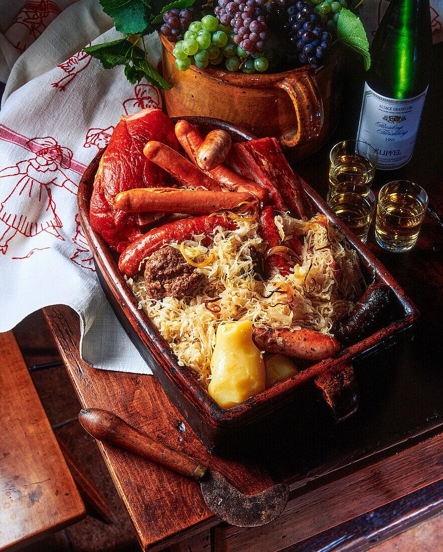 Alsatian choucroute garnie (sauerkraut with sausages and pork)