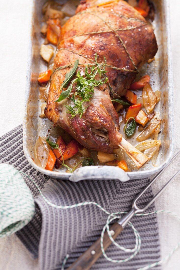 Gently roasted lamb shoulder with vegetables