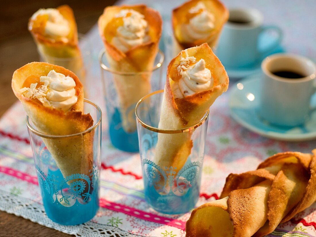 Tuile cones with cloudberry mousse