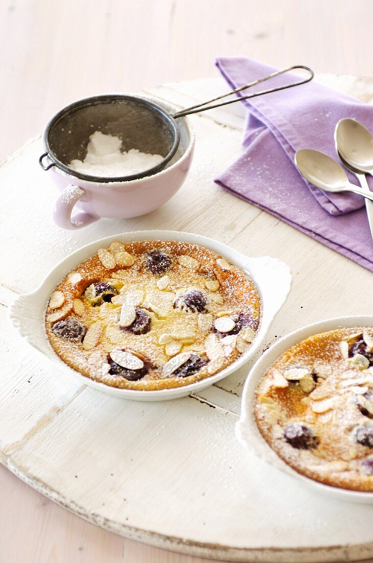 Baked cherry and almond pudding