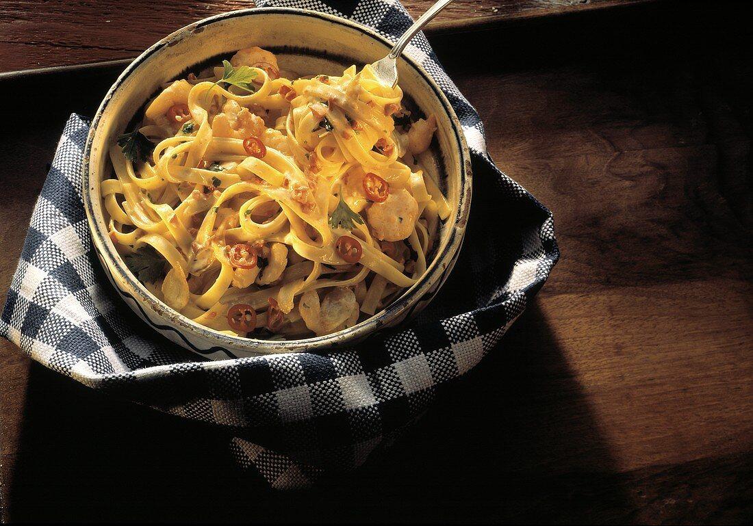 Fettucini Alfredo with Seafood