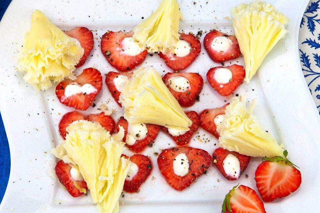 Fresh strawberries with tete de moine and sour cream