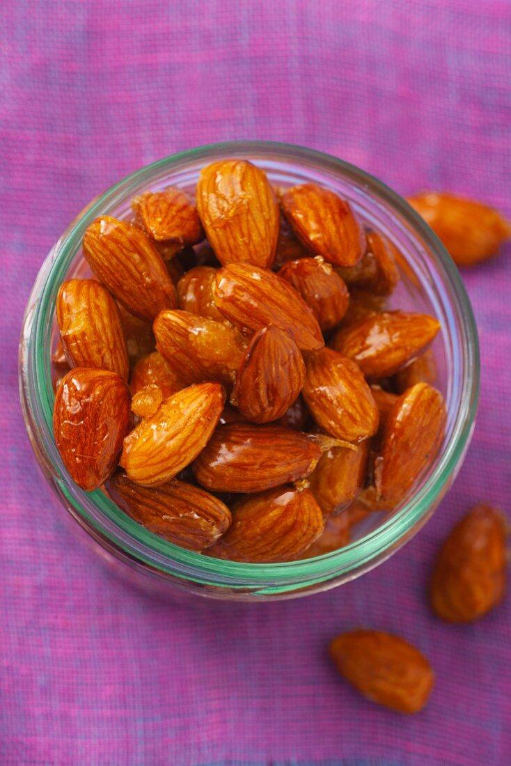 A jar of caramelised almonds