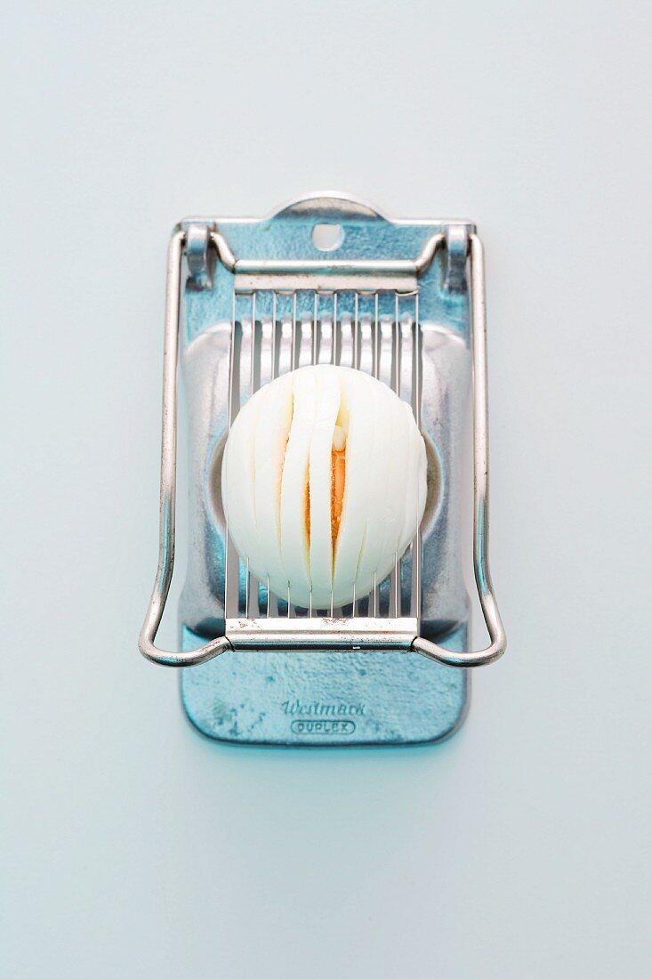 Hard-boiled egg in egg slicer