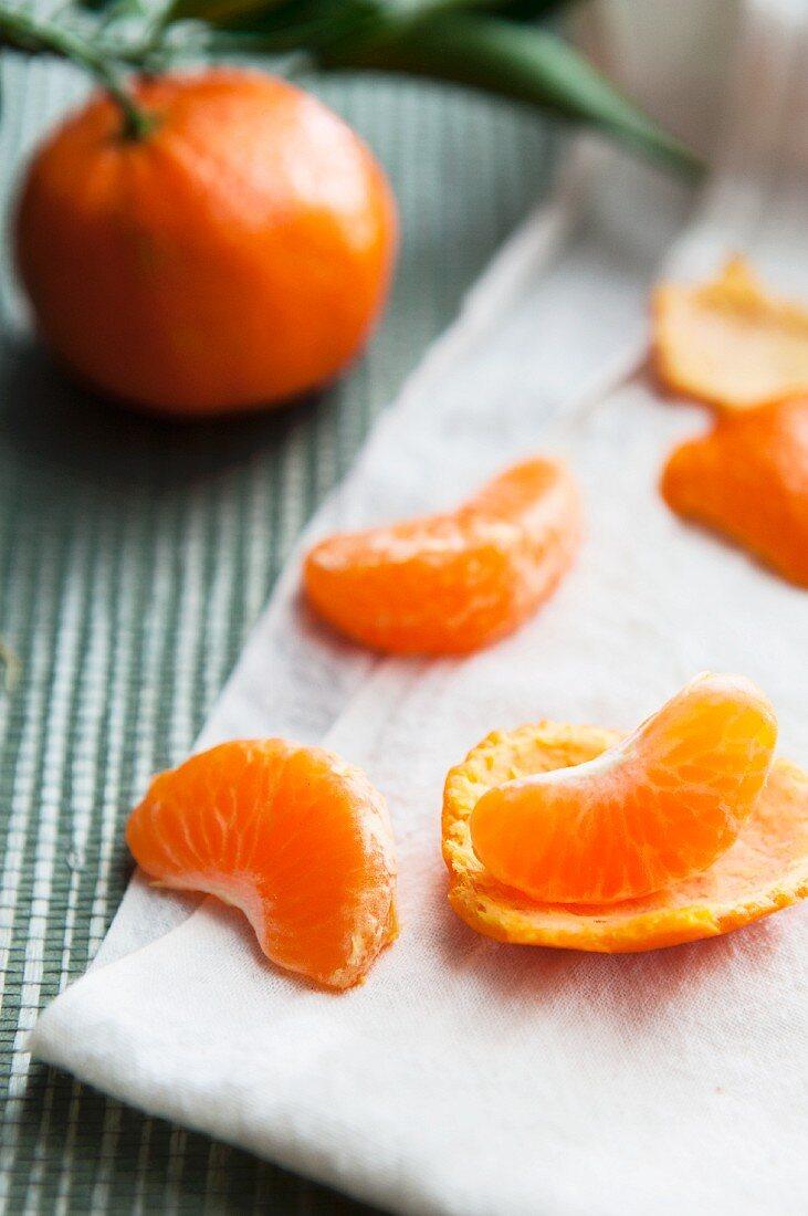 Peeled Mandarin Orange Segments with Whole Mandarin Orange