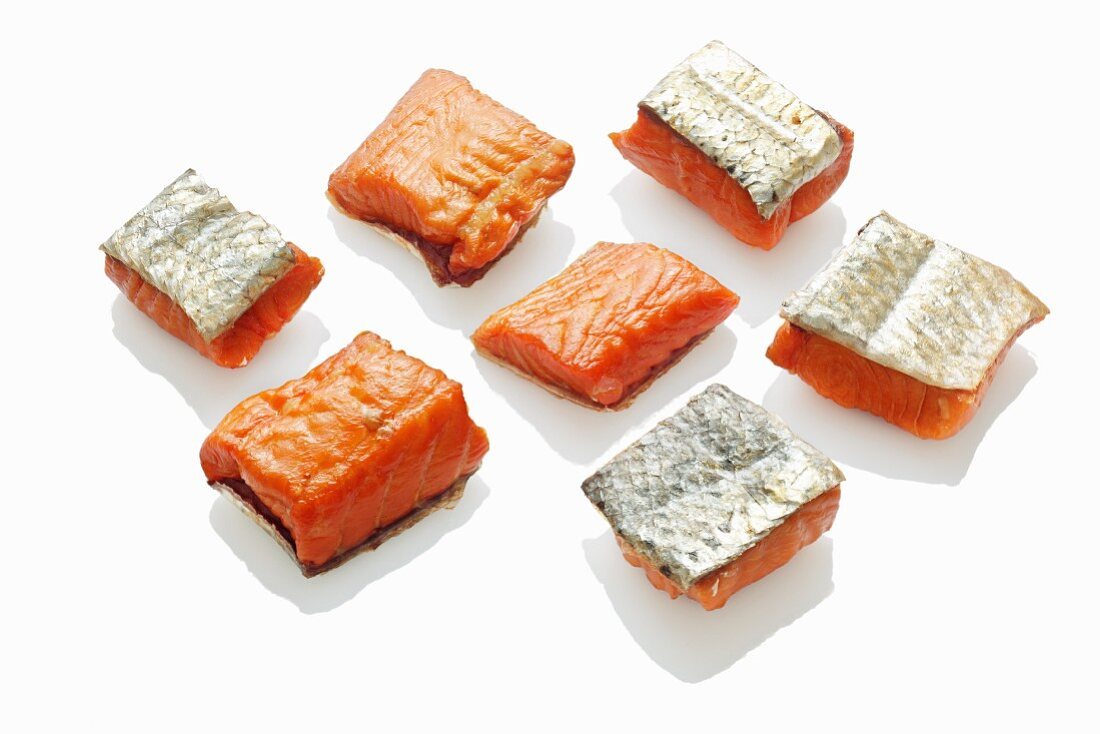 Pieces of hot smoked salmon