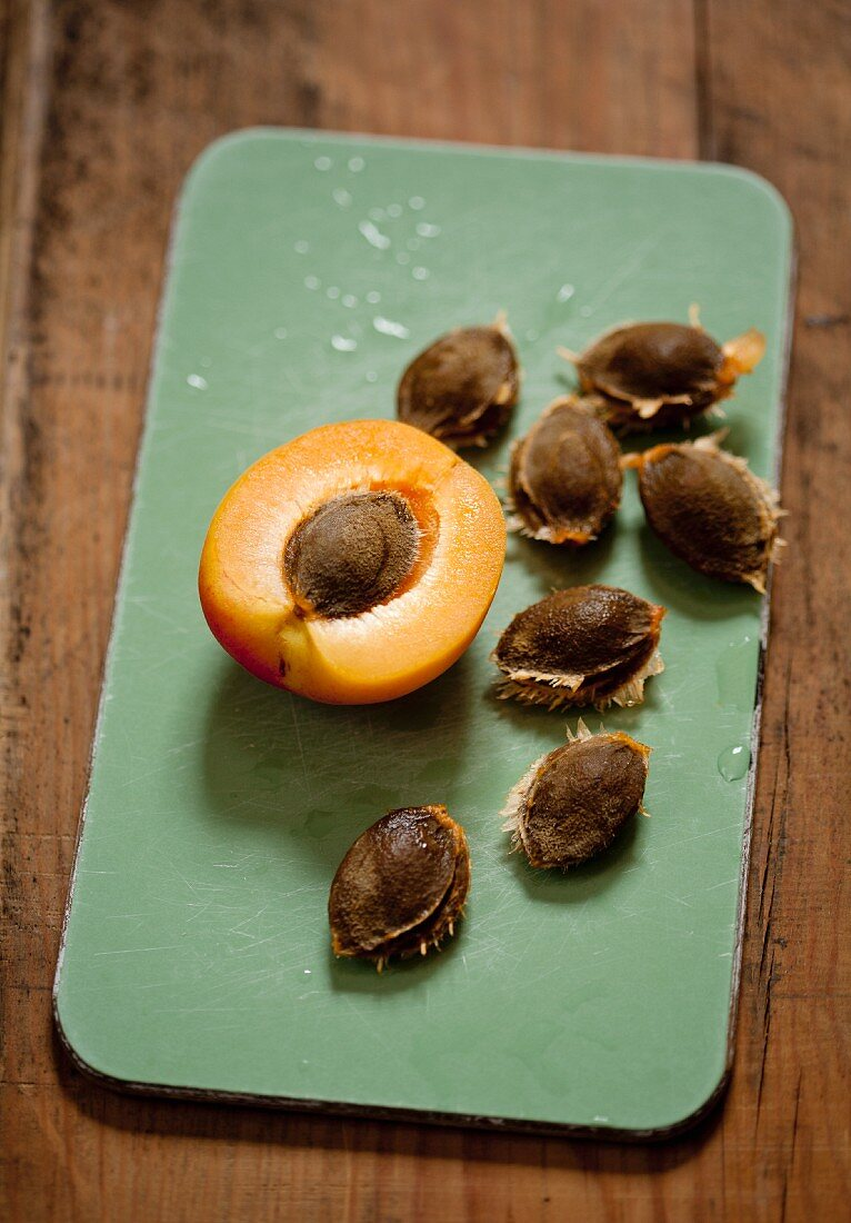 Half and apricot and apricot seeds