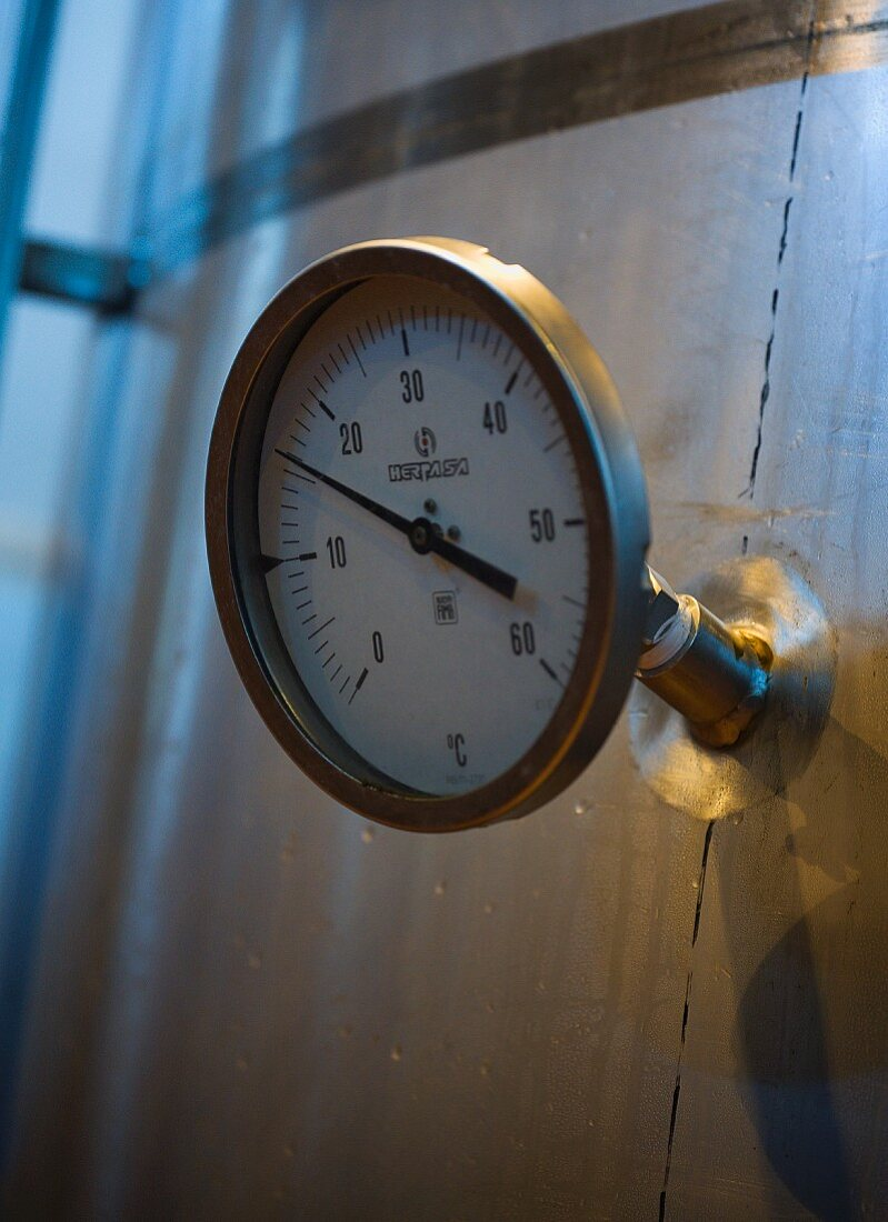 Thermometer on fermentation tank