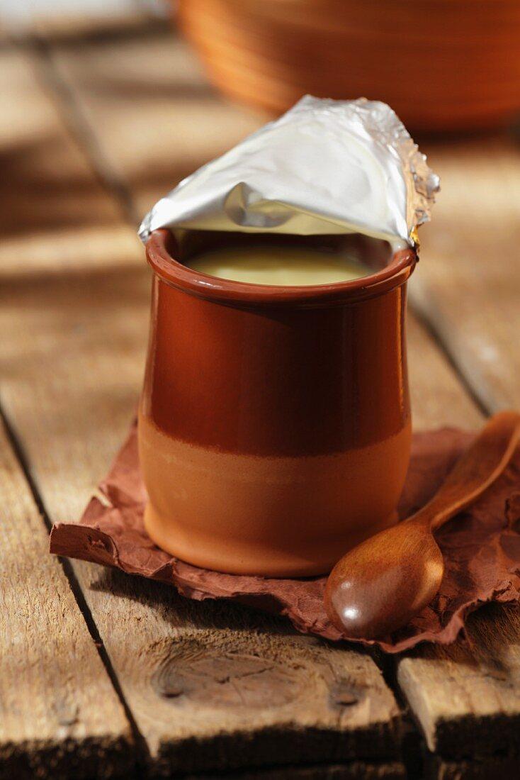 Yoghurt in a pot