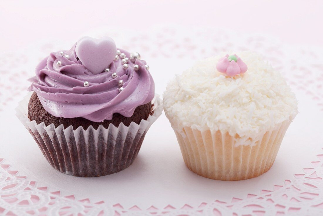 Chocolate cupcake with blackberry icing, cupcake with grated coconut