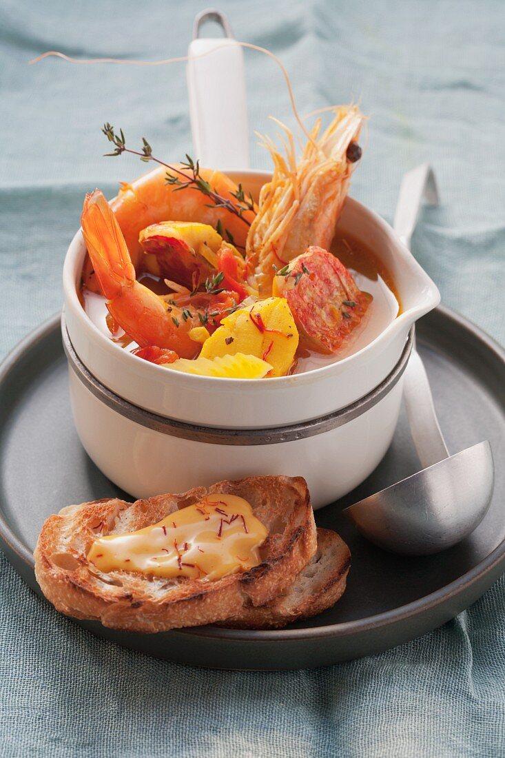 Bouillabaisse with rouille