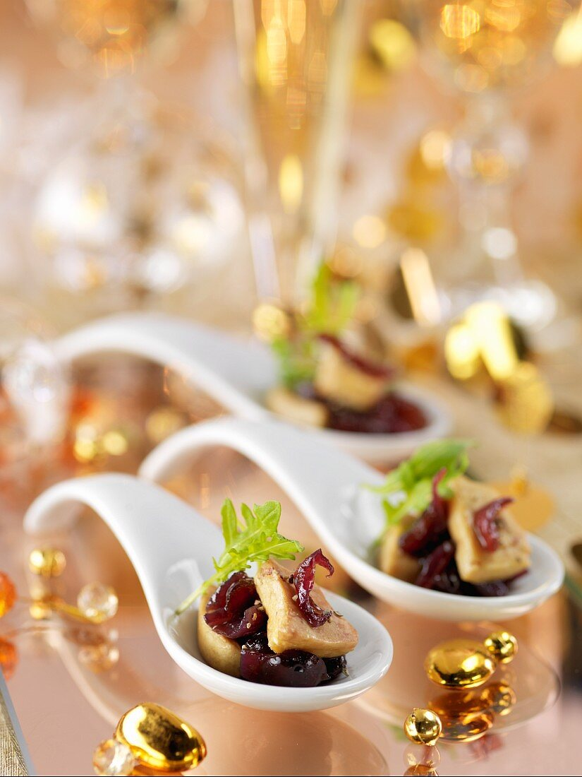Foie gras with onion jam on a spoon