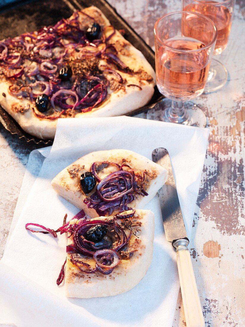 Pissaladiere (onion-olive cake, France)