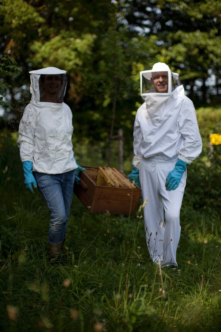 Two bee-keepers with honeycombs