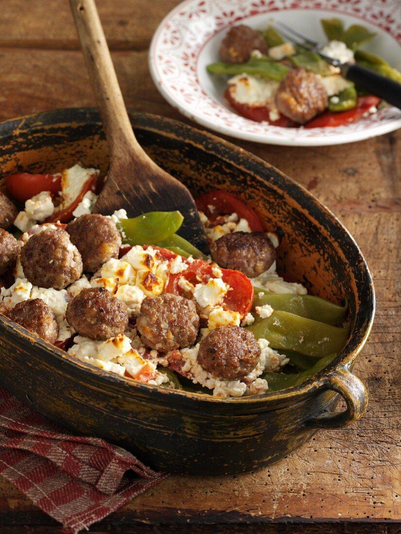 Bean gratin with meatballs