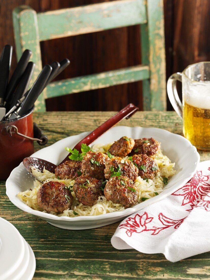 Munich-style meatballs with sauerkraut