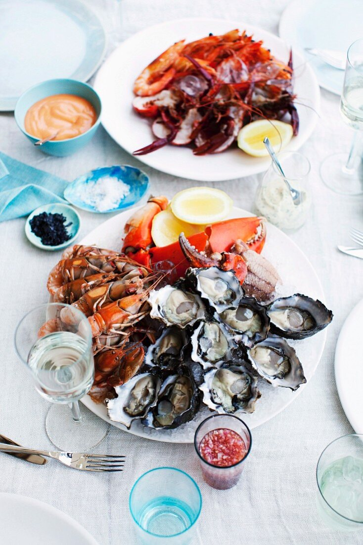 Seafood plater with various sauces