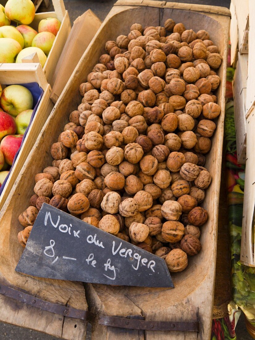 Walnuts on Display at The Carouge Market is in Geneva Switzerland