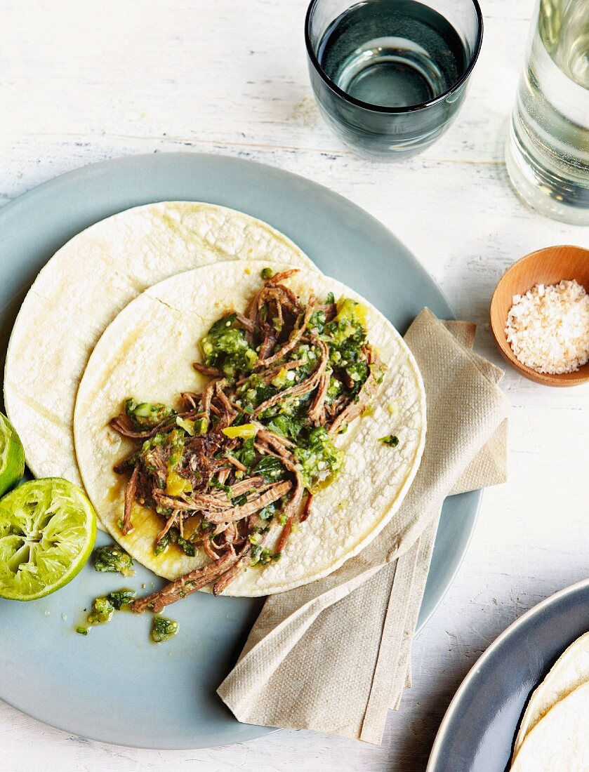 Tortilla with strips of beef, green chilis, tomatillos and cucumber salsa