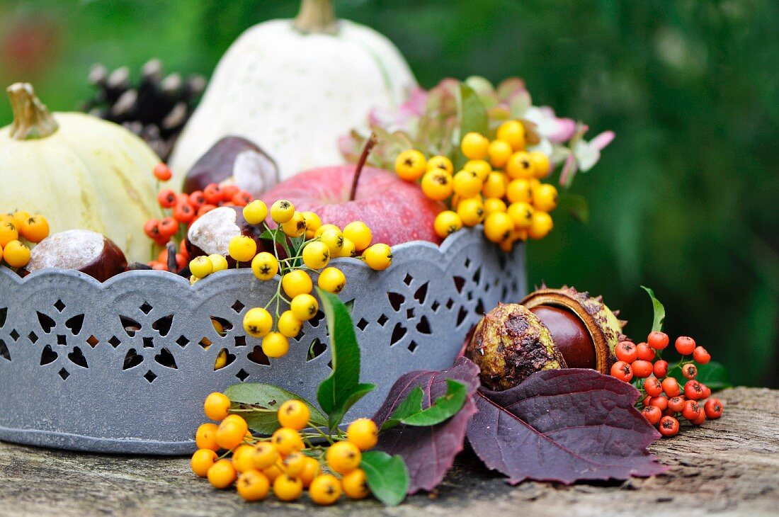 Zinc tray with conkers, apples, pumpkins and berries