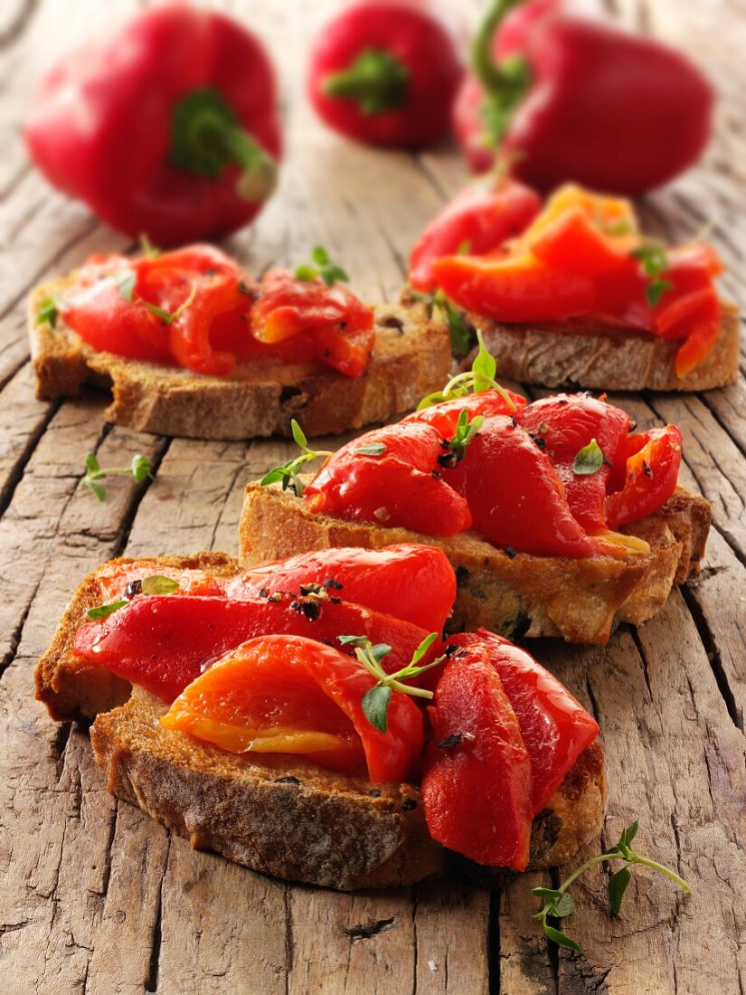 Toasted rye bread with roasted peppers