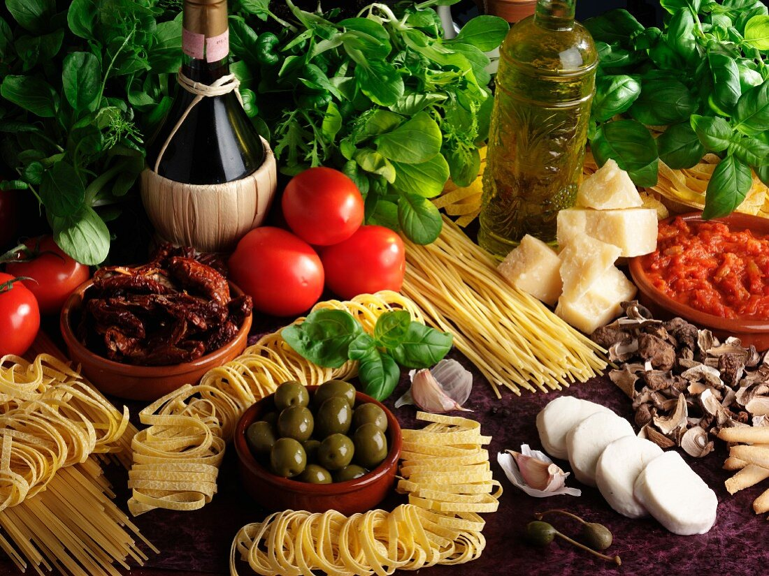 An arrangement of Italian food