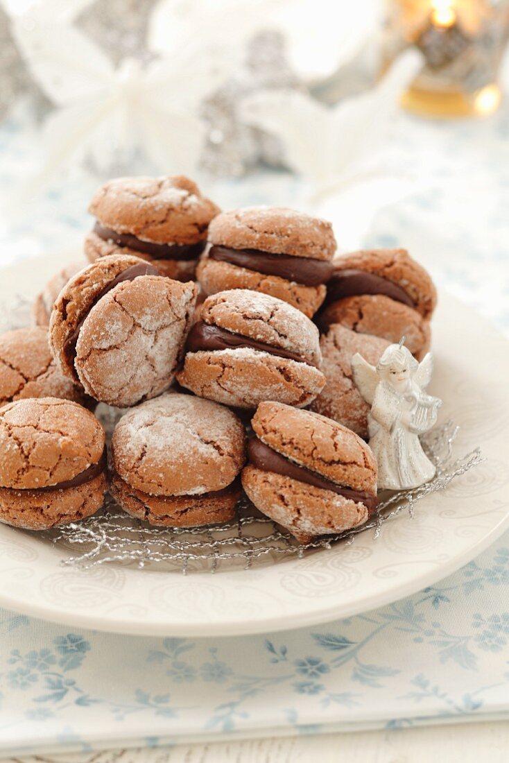Chocolate macaroons for Christmas