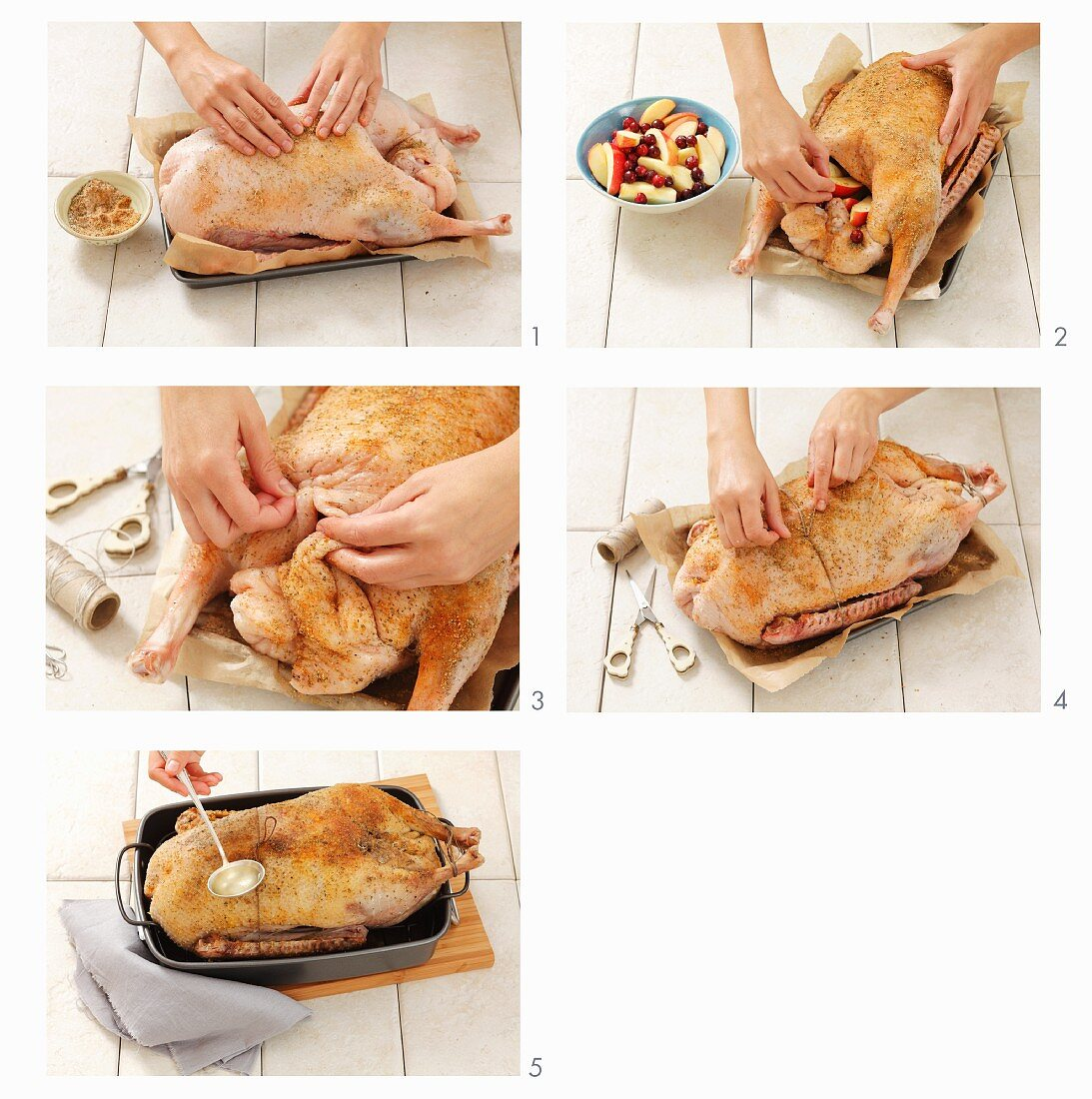 Stuffed goose being made