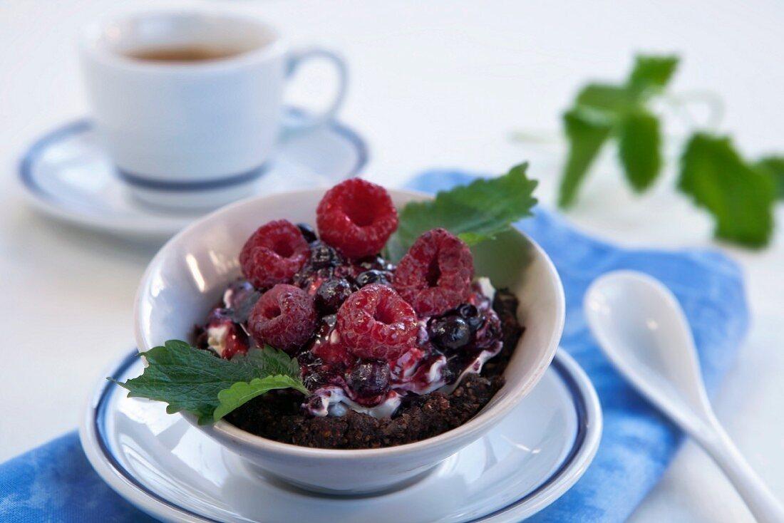 Mascarpone-marsala cream with chocolate amaretto dough and berries