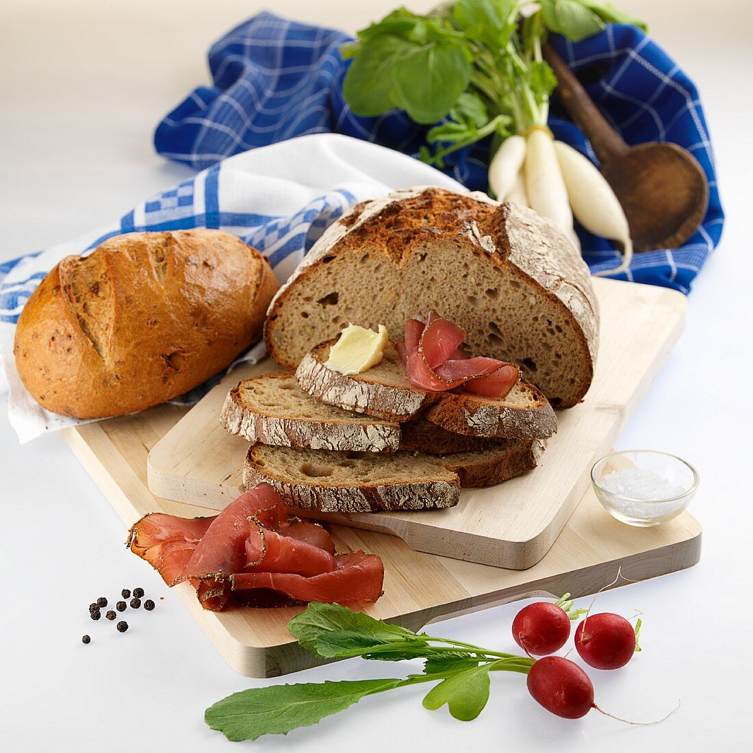 Bread and ingredients for supper