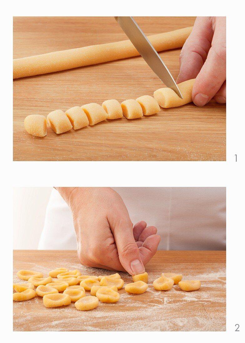 Orecchiette pasta being made