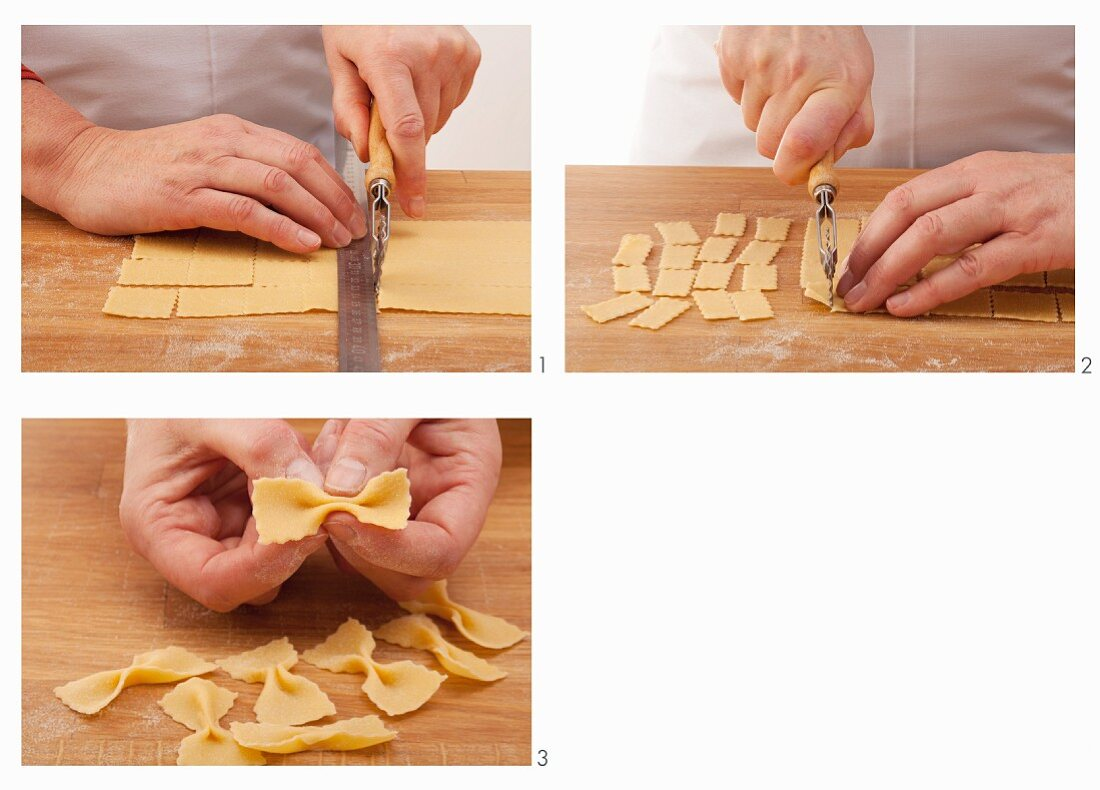 Farfalle being made