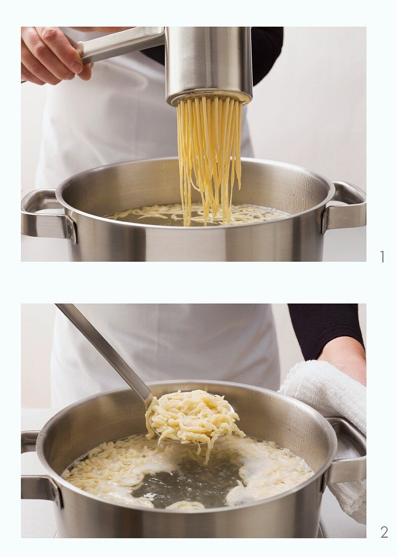 Spätzle dough (soft egg noodles from Swabia) being pressed and cooked