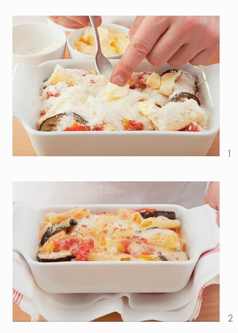 Pasta and vegetables bake with parmesan cheese and a crumble topping