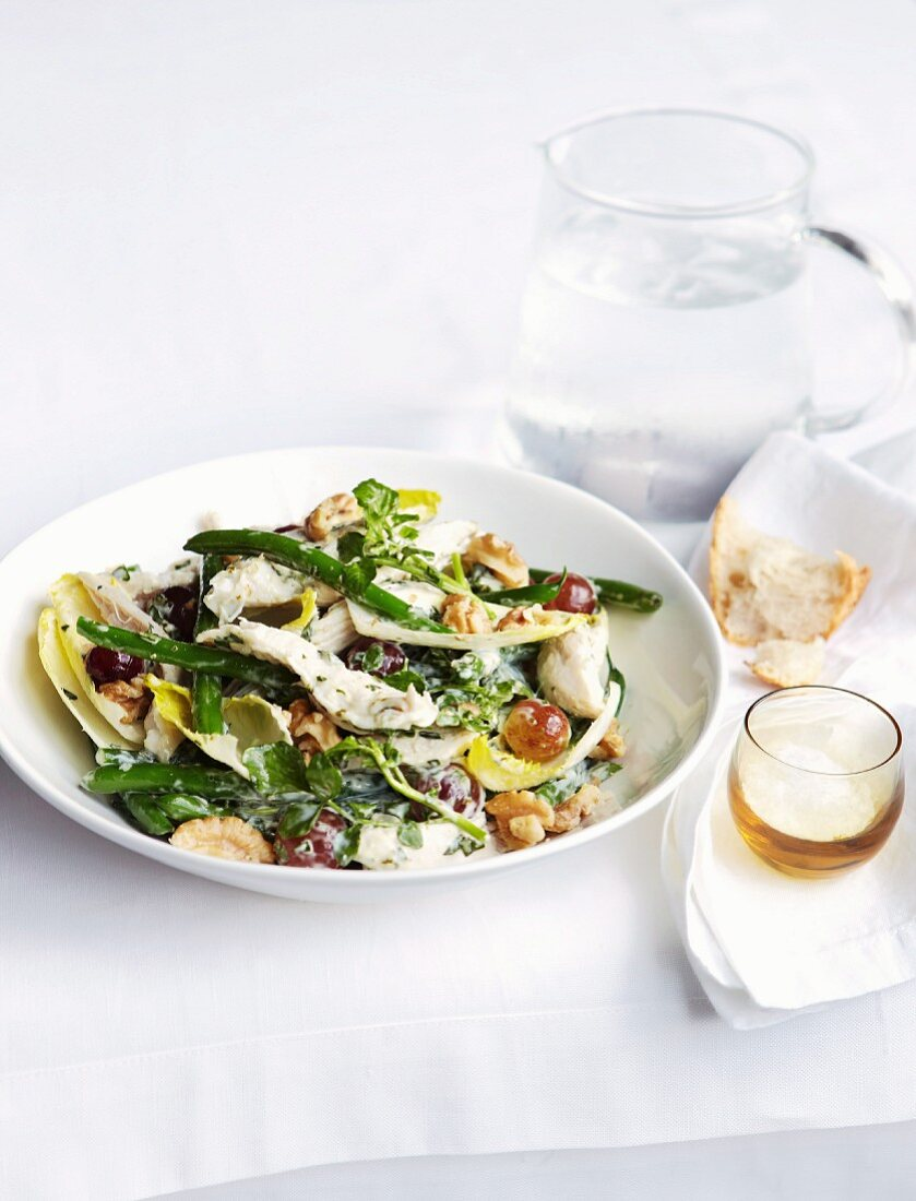 Poached chicken breast with green beans, basil and mayonnaise
