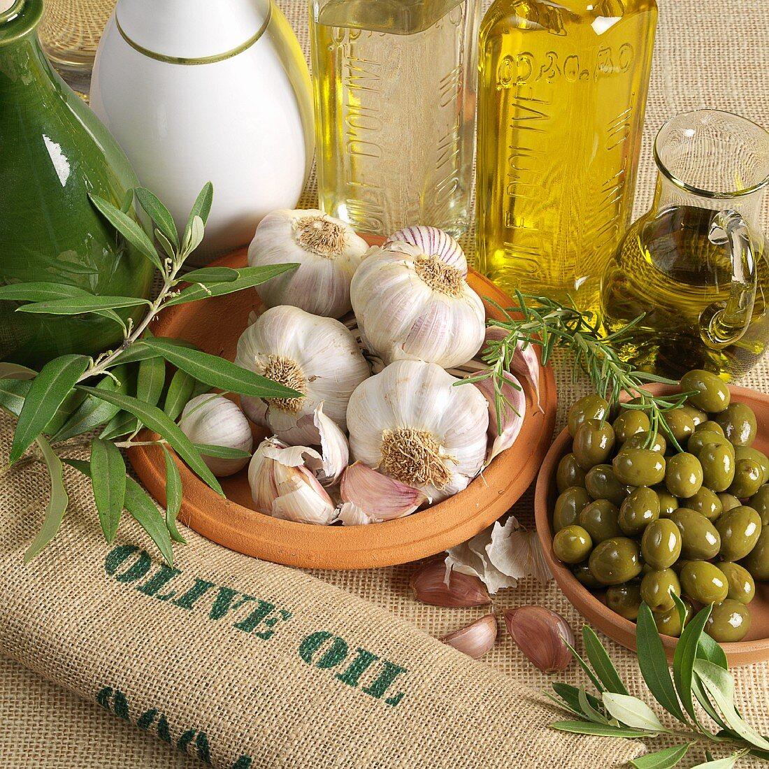 An arrangement of olives