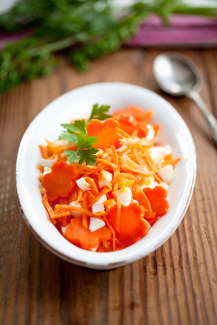 Carrot salad with boiled eggs